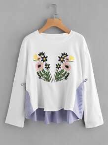Flower Embroidered Mixed Media Sweatshirt