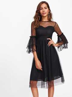 Layered Bell Sleeve Dot Mesh Overlay Dress