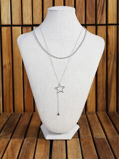 Layered Bead and Star Necklace SILVER