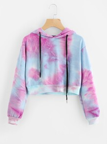 Water Color Drawstring Crop Hoodie
