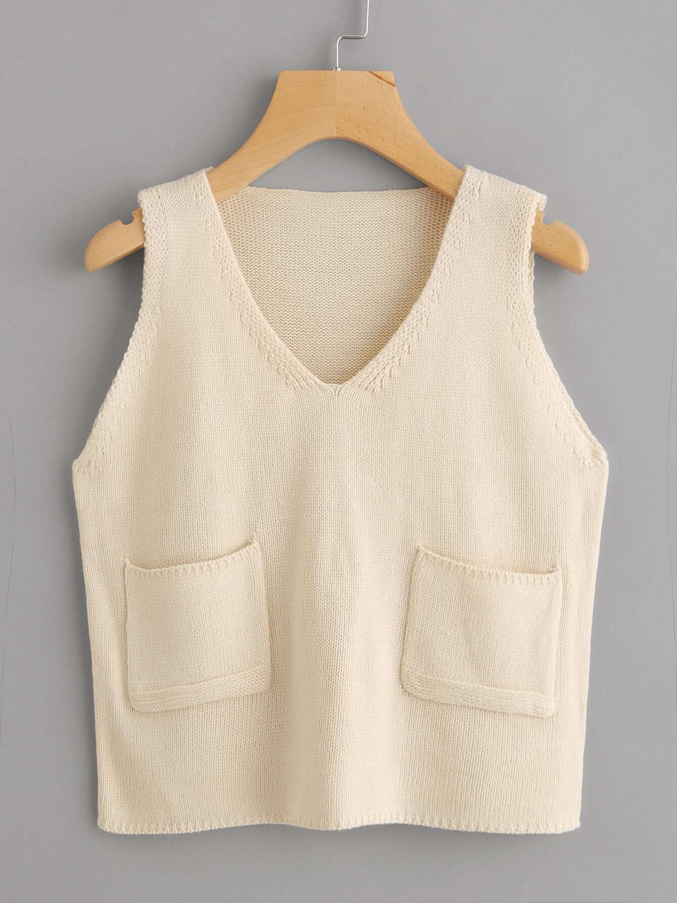 V-neckline Dual Pocket Sweater Vest