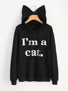 Slogan Print Cat Ear Hoodie
