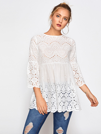 Eyelet Embroidered Scallop Trim Smock Blouse