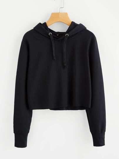Hooded Drawstring Basic Sweatshirt