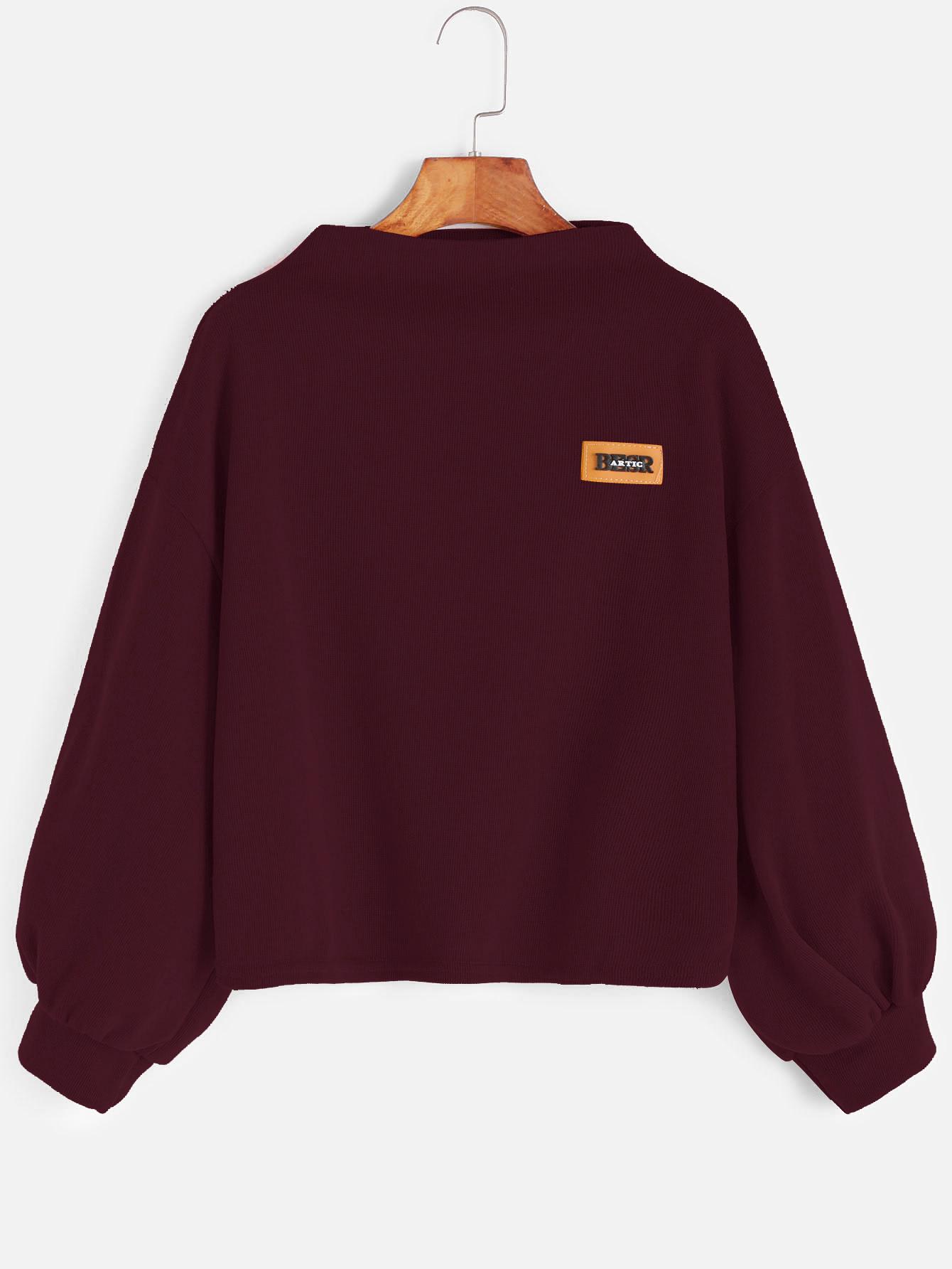 Lantern Sleeve Patch Sweatshirt drop shoulder lantern sleeve sweatshirt