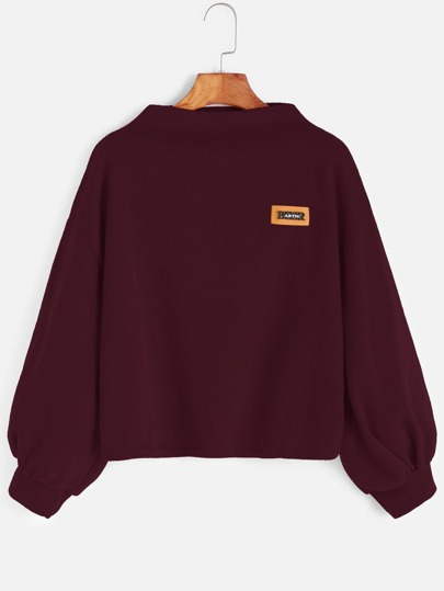 Lantern Sleeve Patch Sweatshirt