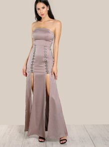 Strapless Satin Cut Out Dress ROSE