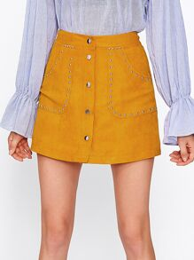 Studded Button Up Suede Skirt