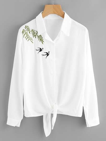 Swallows Embroidered Knot Front Shirt
