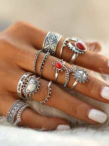 Red And White Turquoise Stone Vintage Rings Set