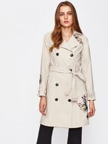 Embroidery Applique Belted Trench Coat