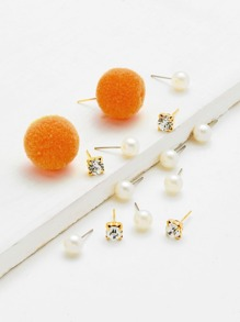 Pom Pom & Faux Pearl Stud Earrings 14pcs