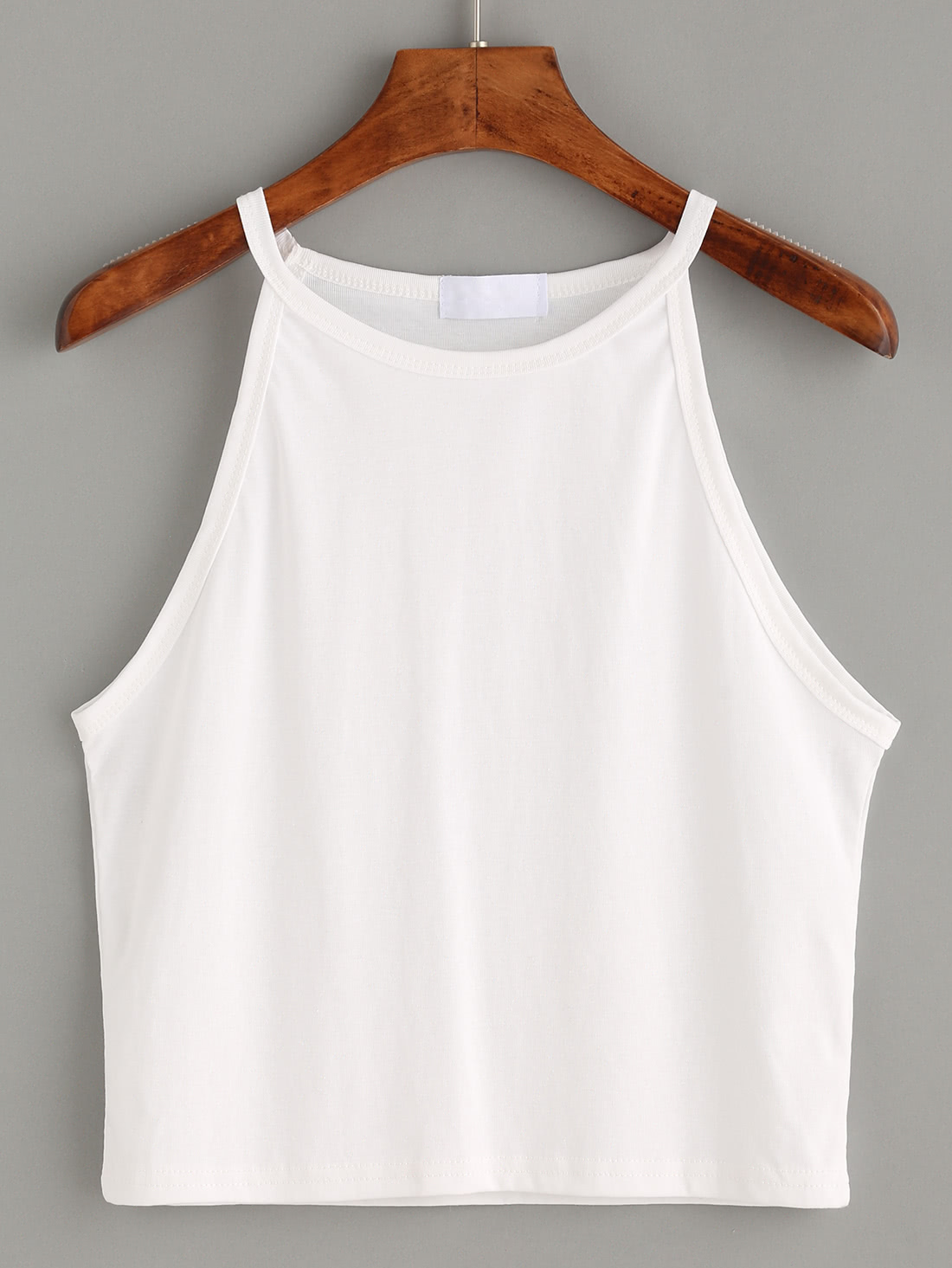White High Neck Crop Cami Top mock neck crop top