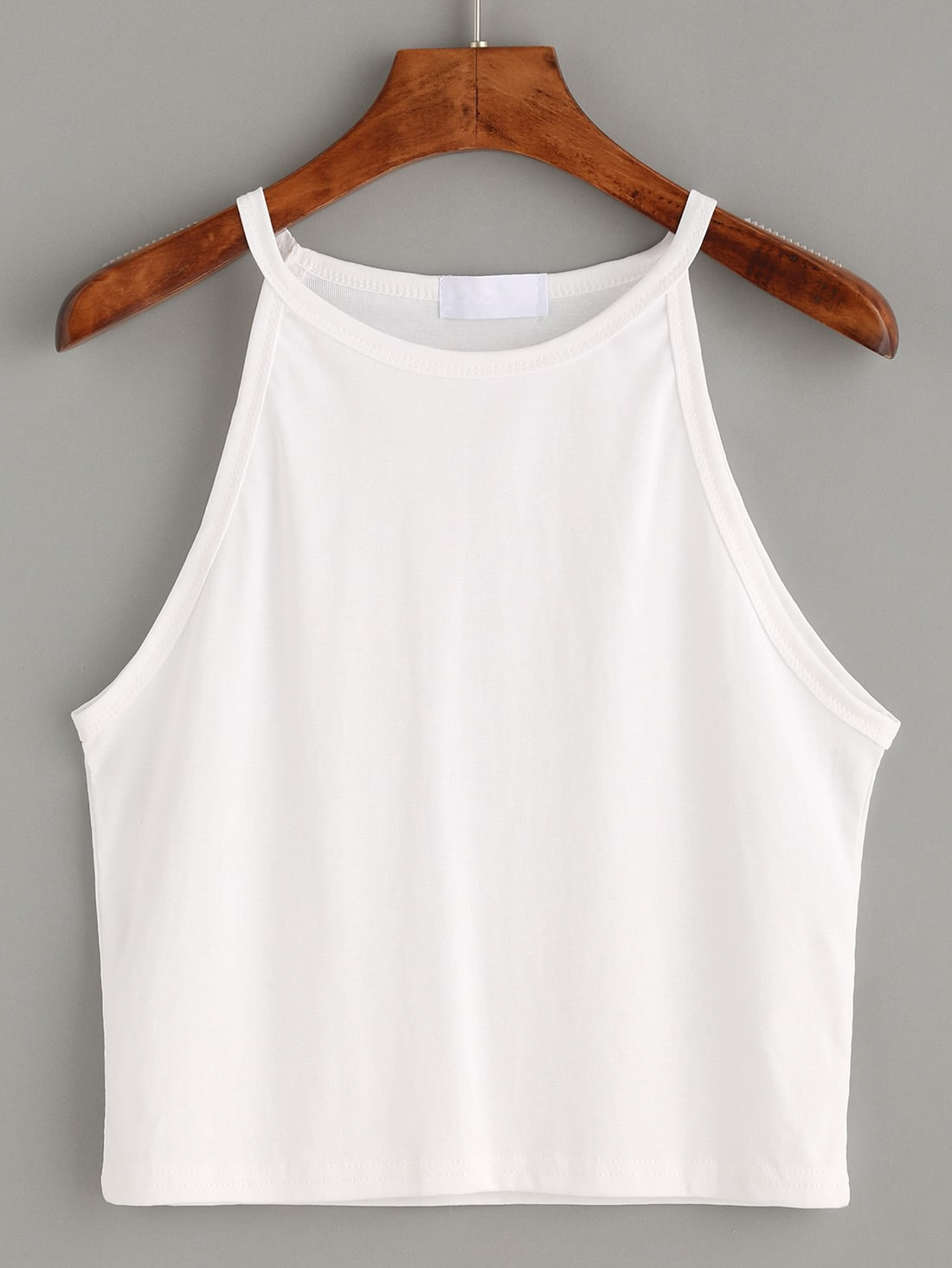 White High Neck Crop Cami Top RVES160617113