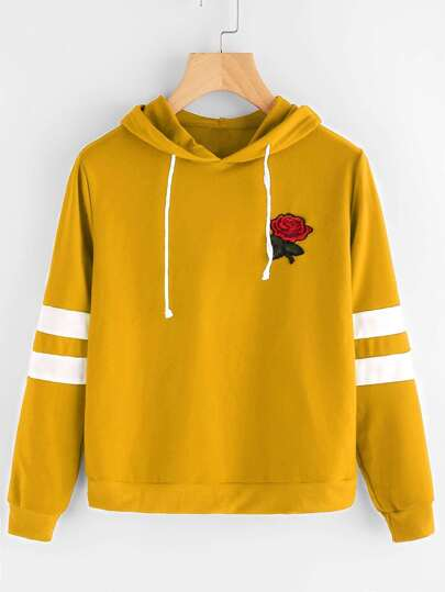 Rose Patch Stripe Sleeve Drawstring Hoodie