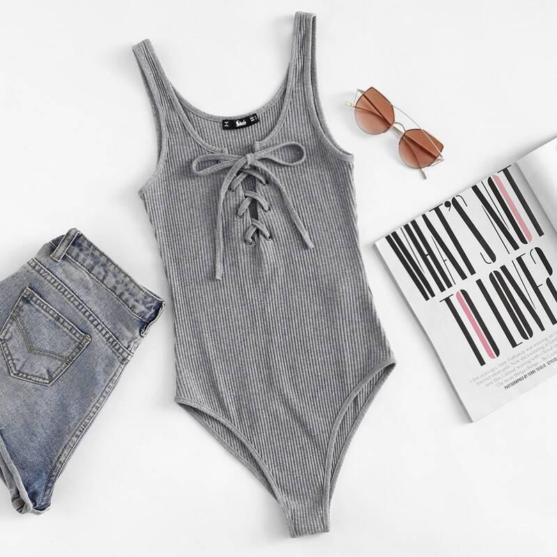 Lace Up Front Rib Knit Heathered Bodysuit, Grey