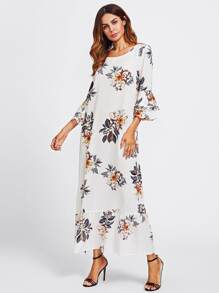 Layered Bell Sleeve Floral Kaftan Dress