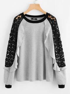 Flounce Trim Contrast Lace Shoulder Pullover