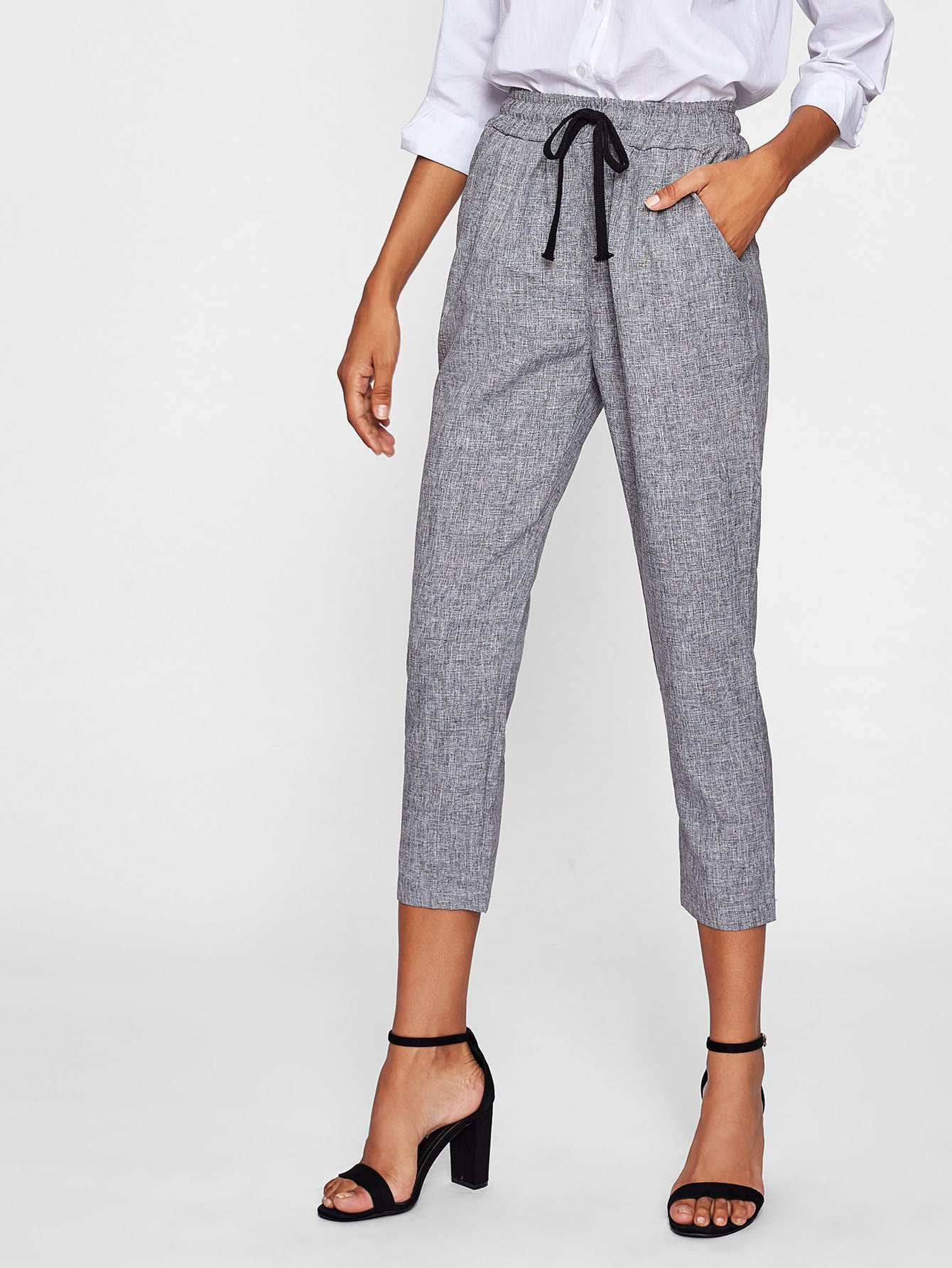 Drawstring Waist Crop Peg Pants ruffle waist belted peg pants