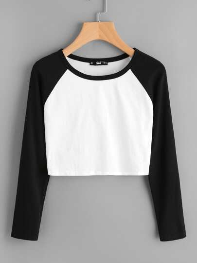 Two Tone Raglan Sleeve Crop Tee