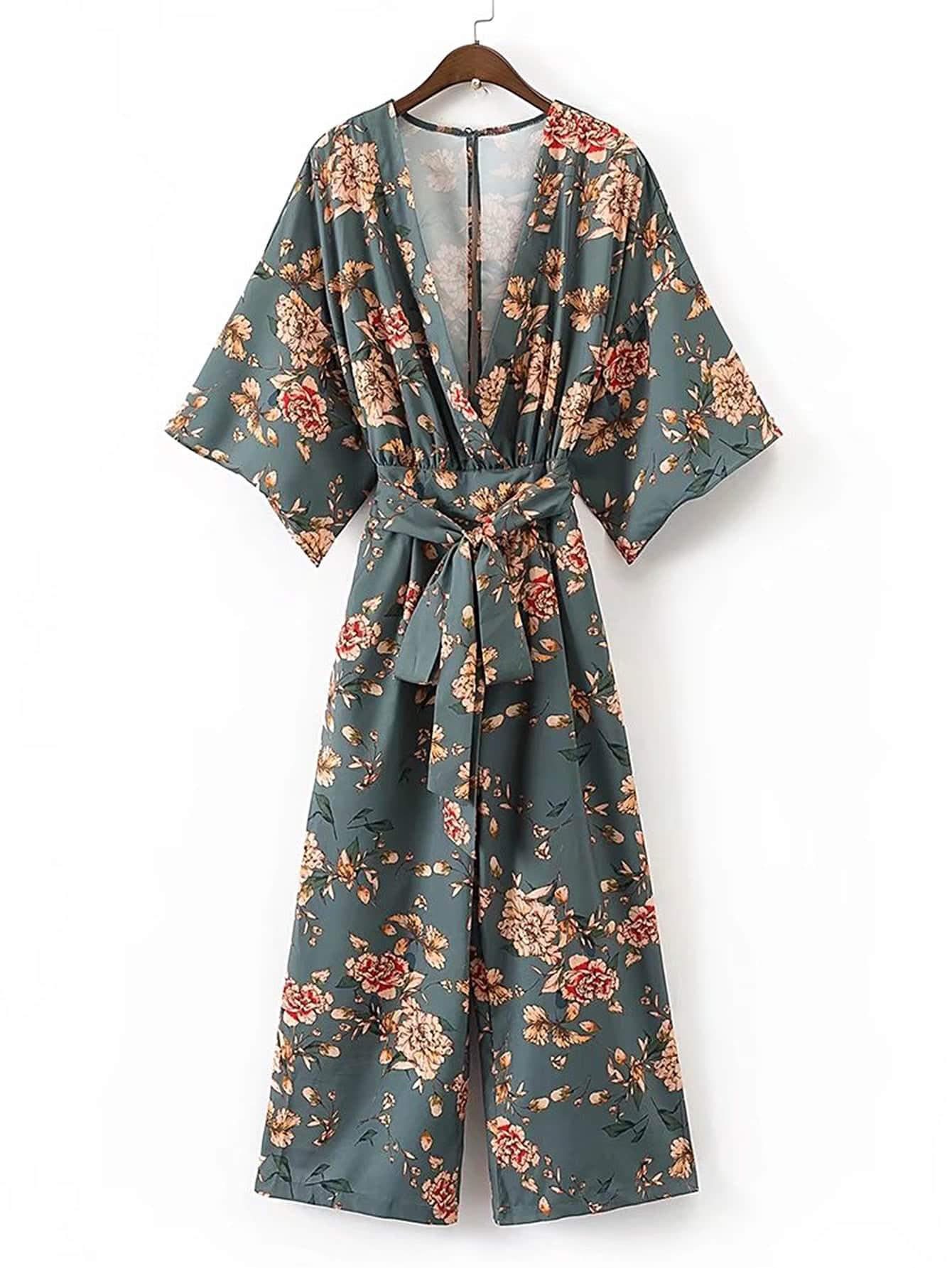 Plunging V-Neckline Floral Print Tie Waist Jumpsuit