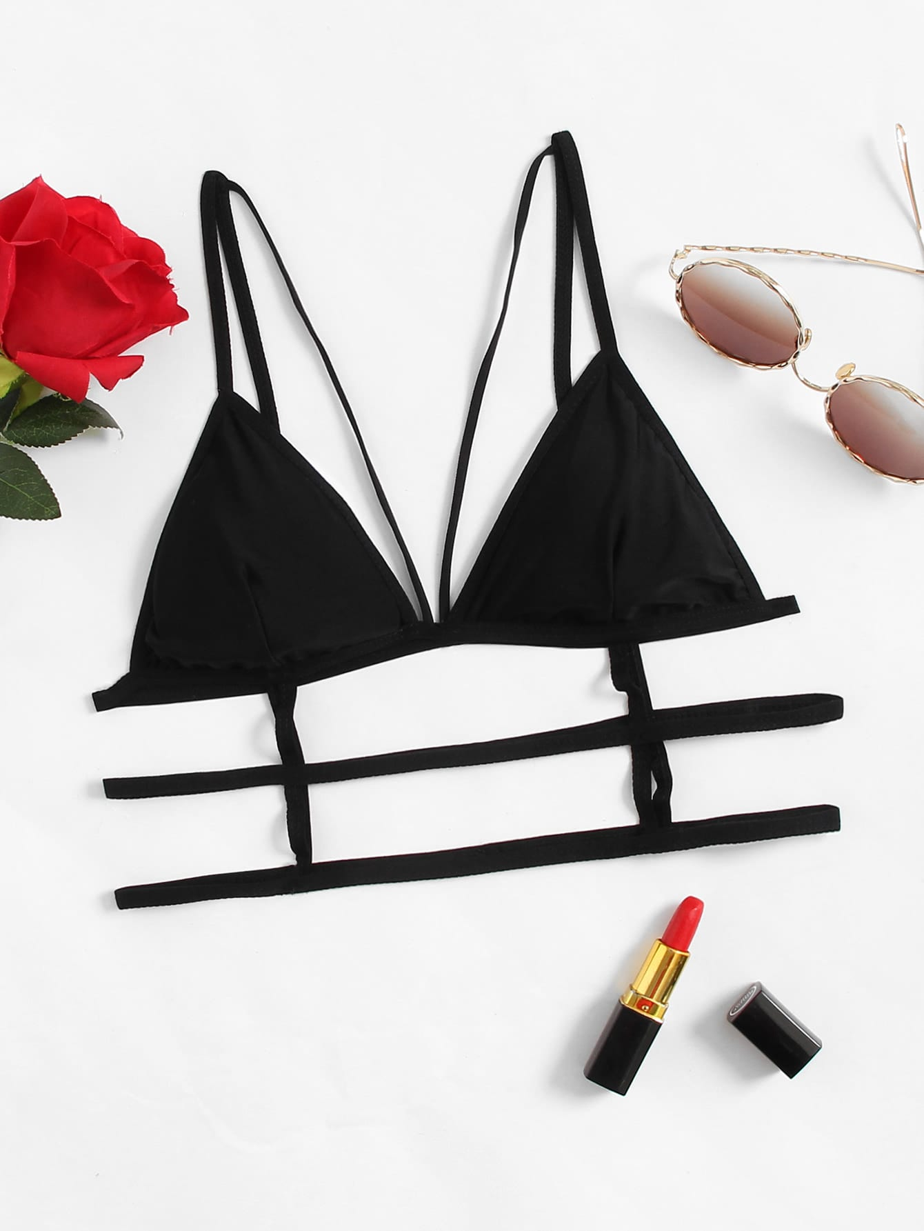 Harness Detail Caged Triangle Bralette black lace castle triangle bralette