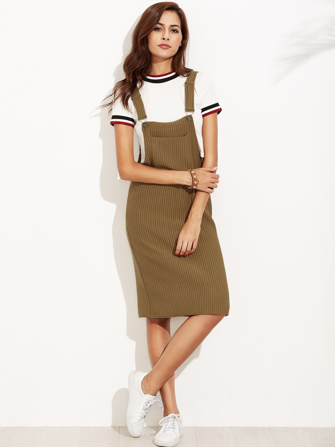 Ribbed Overall Dress With Pockets overall yumi overall