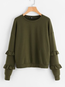 Drop Shoulder Frilled Sleeve Sweatshirt