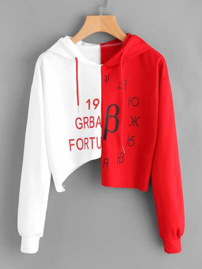 Color Block Letter Print Cut Out Hoodie