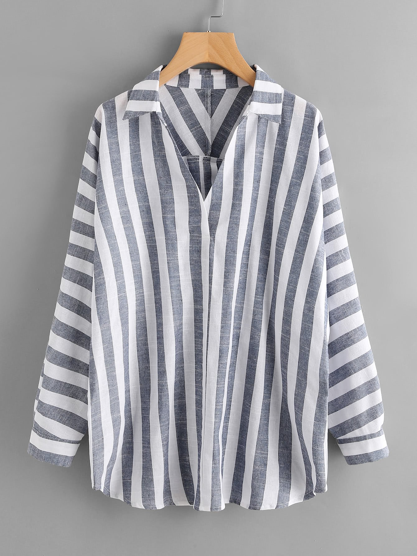 Buttoned Back Striped Plunge Blouse striped asymmetric buttoned neck blouse