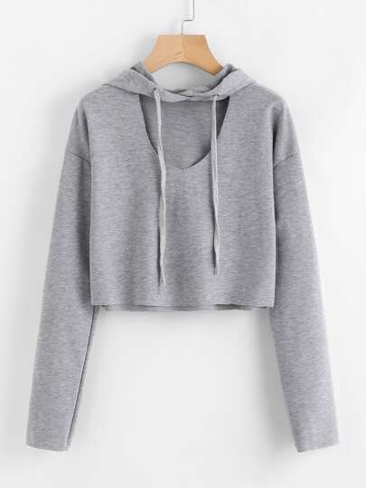 Hooded V Cut Sweatshirt