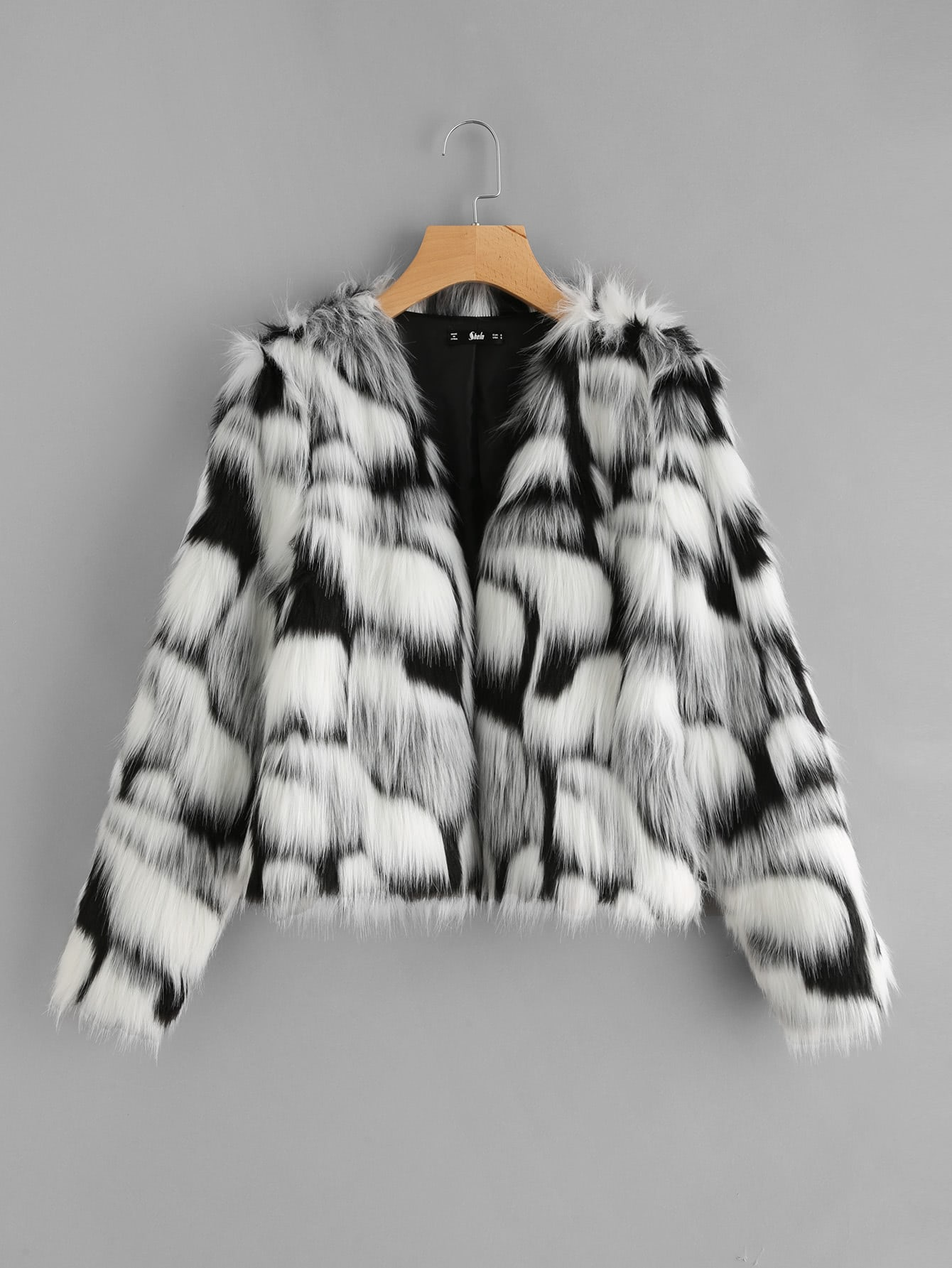Two Tone Faux Fur Open Front Coat two tone drop shoulder sweatshirt