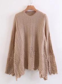 Suéter con ribete festoneado
