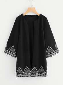 Geo Embroidered Hem Open Front Coat