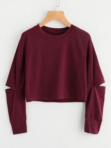 Cut Out Sleeve Crop Sweatshirt