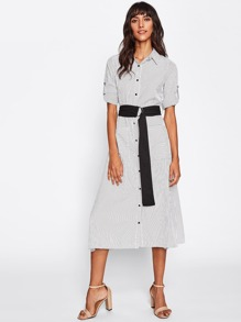 Roll-Up Sleeve Pinstripe Shirt Dress With Belt