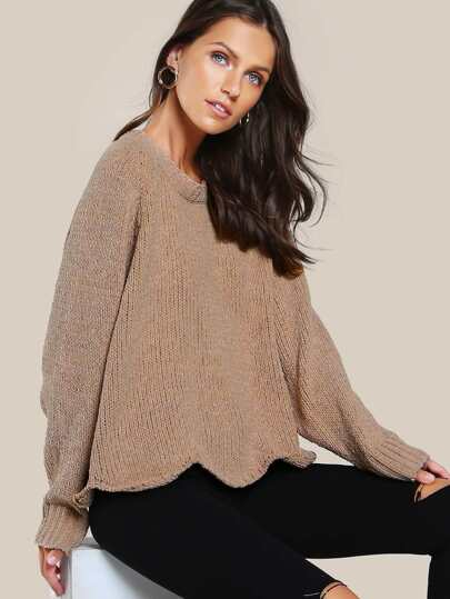 Knitted Long Sleeve Mock Collar Top TOAST