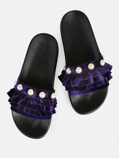 Ruffle and Pearl Slides PURPLE