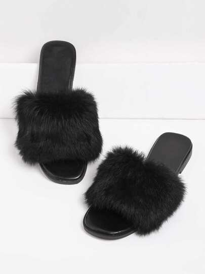 Faux Fur Decorated Slide Sandals