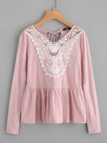 Lace Applique Tied Keyhole Back Smock Tee