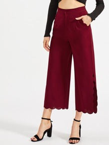 Scallop Trim Slit Side Wide Leg Pants