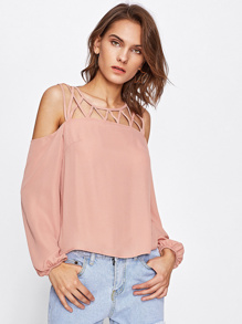 Open Shoulder Caged Front Top