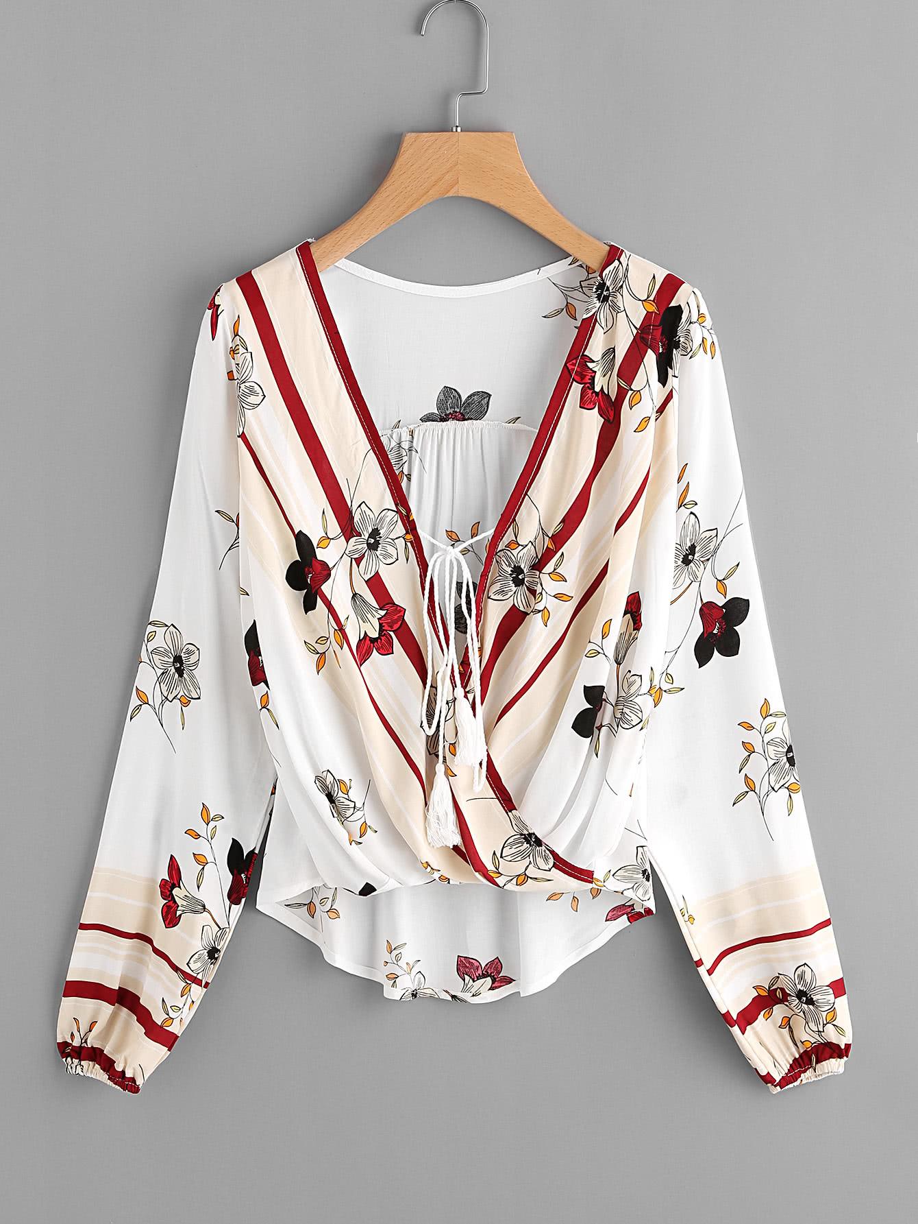 Surplice Neckline Tassel Tie Botanical Print Blouse crisscross surplice neckline tie detail tropical print blouse