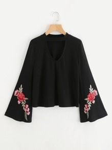 Choker Neck Embroidery Patch Bell Sleeve Top