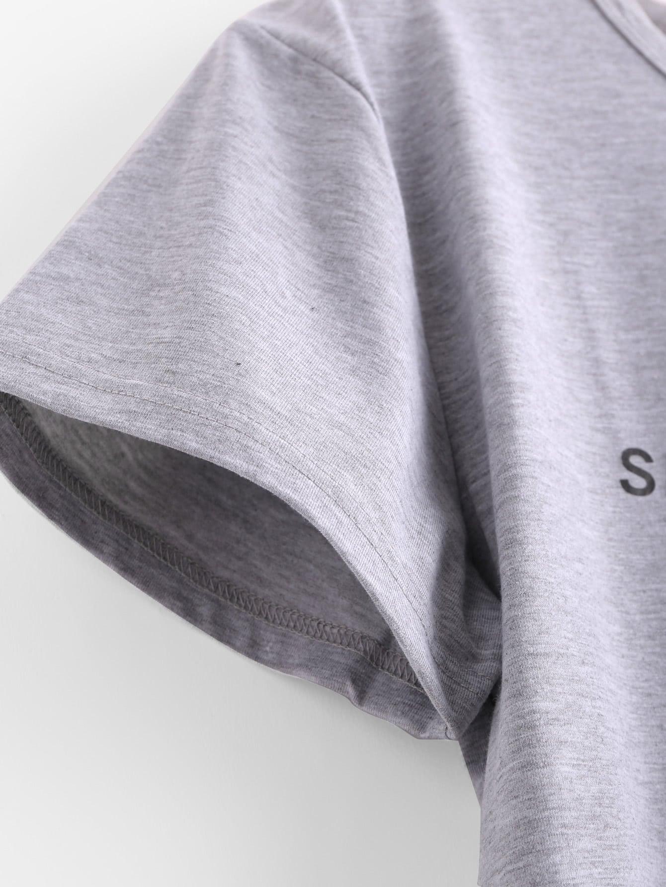 Sentence Print Marled T-shirt