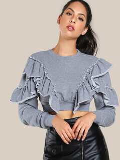 Ruffle Front Drop Sleeve Crop Top GREY