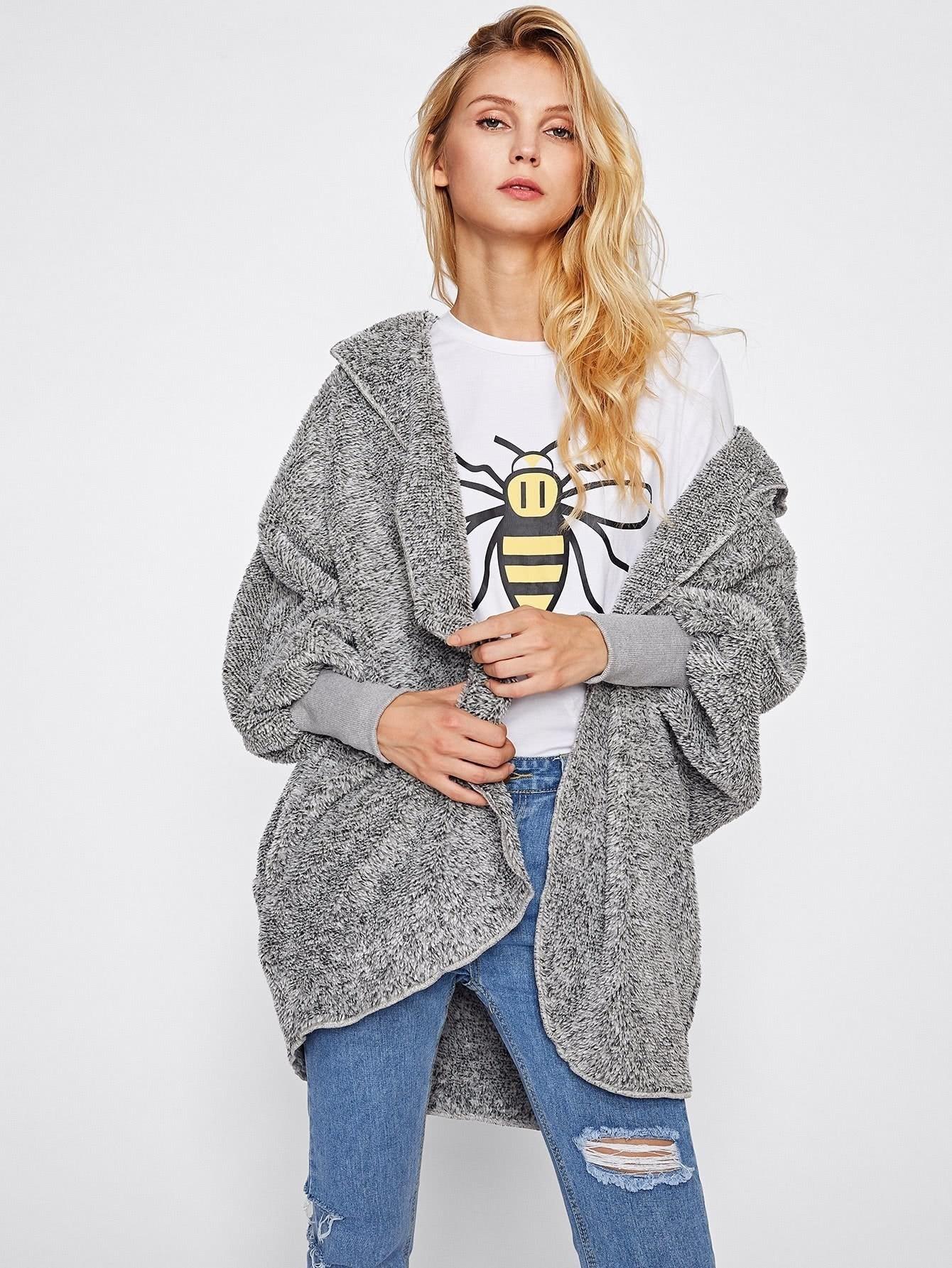 Wide Cuff Hooded Dolman Sleeve Fluffy Coat