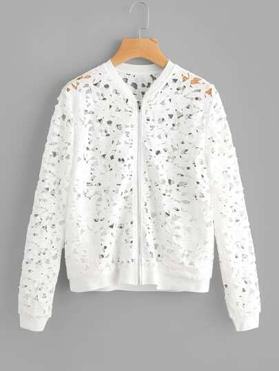 Zip Up Cutout Lace Jacket