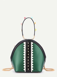 Chevron Trim PU Cross Body Bag With Studded Handle