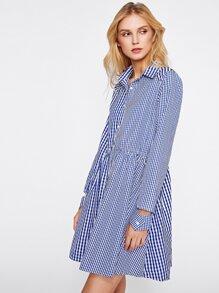 Open Cuff Drawstring Waist Mixed Gingham Shirt Dress pictures